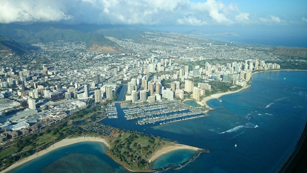 Flugansicht Honolulu Waikiki Beach Jachthafen