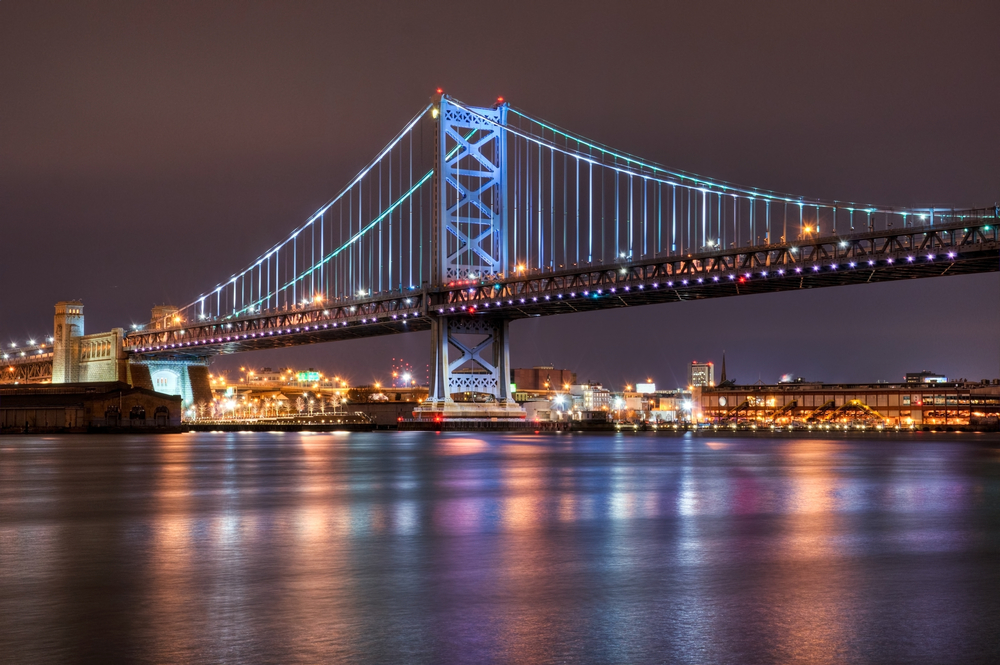 Philadelphia, Benjamin Franklin Bridge, Skyline, Lichter, usa, tripodo, tripodo blog