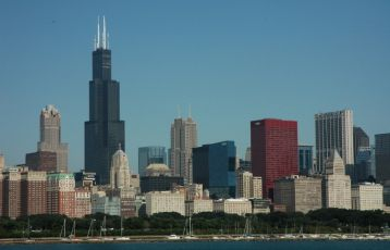 | Chicago am Ufer des Lake Michigan.