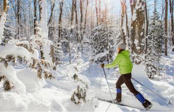 Skifahrerin im Winterwald