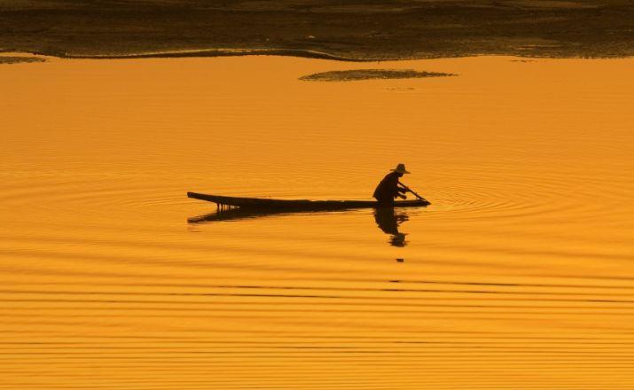 Sonnenuntergang im Mekong-Delta