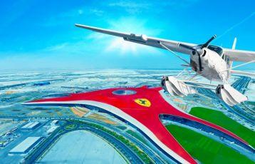 Wasserflugzeug mit Ferrari World